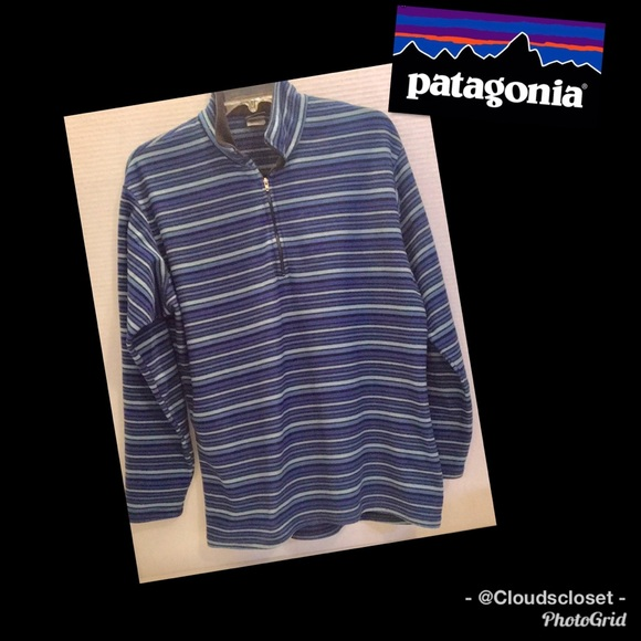 PATAGONIA CAPILENE STRIPED POPOVER BLUES LARGE